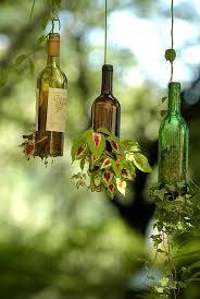 گلدان با بطری شیشه ایی