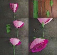 گل رز با مقوا و کاغذ