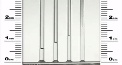 ارتفاع آب در لولهی مویین بر اثر خاصیت مویینگی