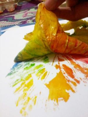 چاپ با برگ های پاییزی