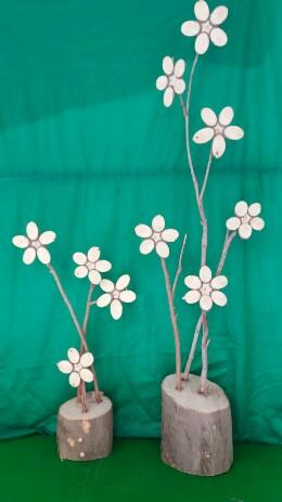گلدان گلهای چوبی