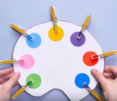 تطابق قلممو های رنگی با رنگ های روی پالت