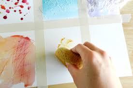 نقاشی با اسفنج روی کاغذ خشک